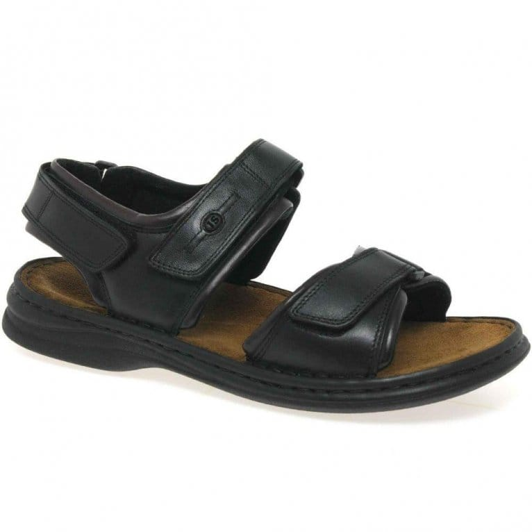 Josef Seibel Rafe Plain Velcro Leather Mens Sandals