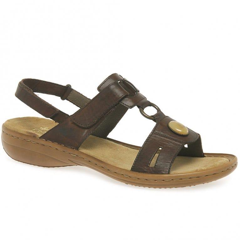 Rieker Regina Leather Jewel Trim Sandals