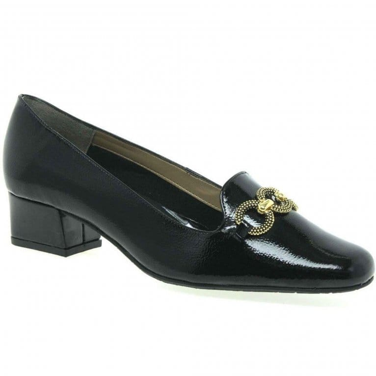 Van Dal Twilight Womens Patent Leather Chain Detail Court Shoes