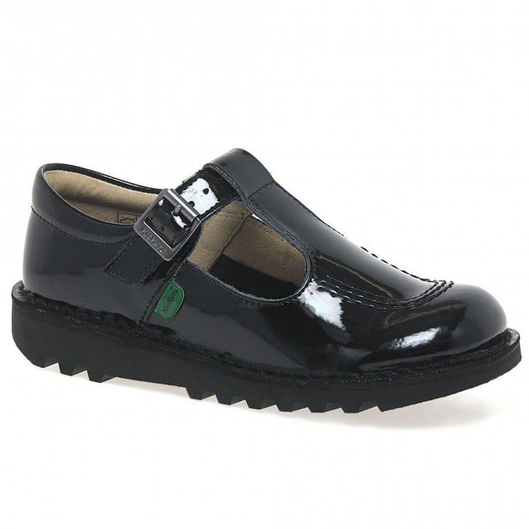 Kickers Kick T Patent Leather Girls Junior School Shoes