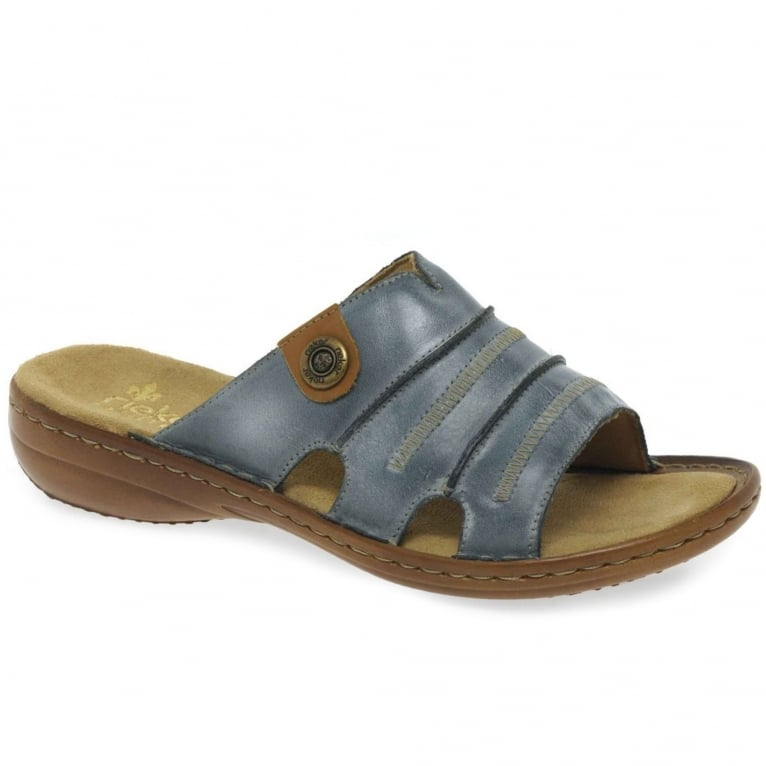 Rieker Roman Leather Rouched Slip On Mules