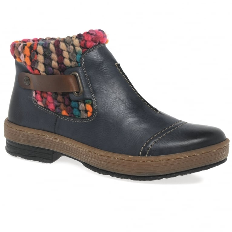 Rieker Rambler Womens Knit Panel Ankle Boots