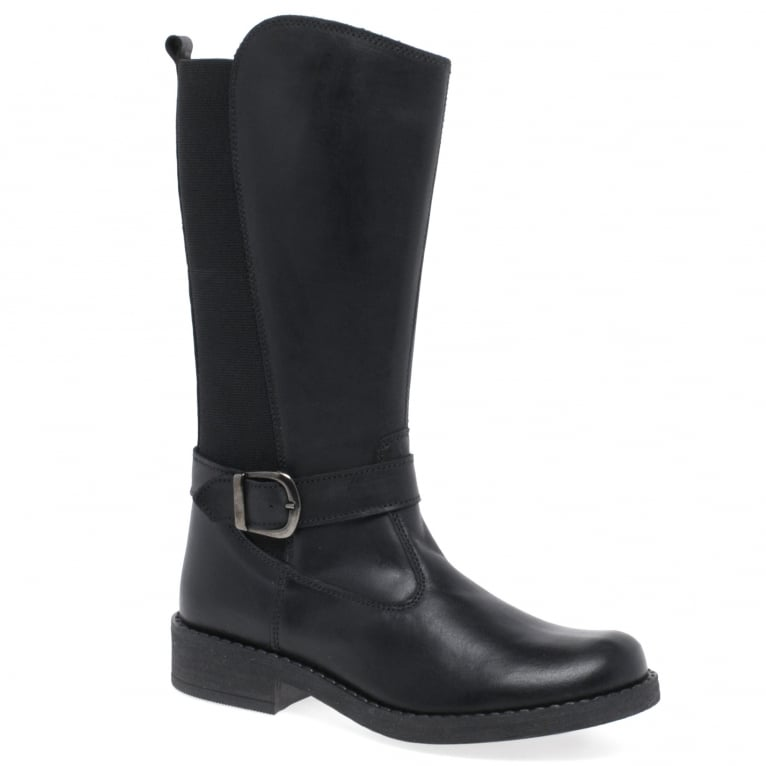 Kids at Clinks Palmero Girls Leather Buckle Elasticated Panel Tall Boots