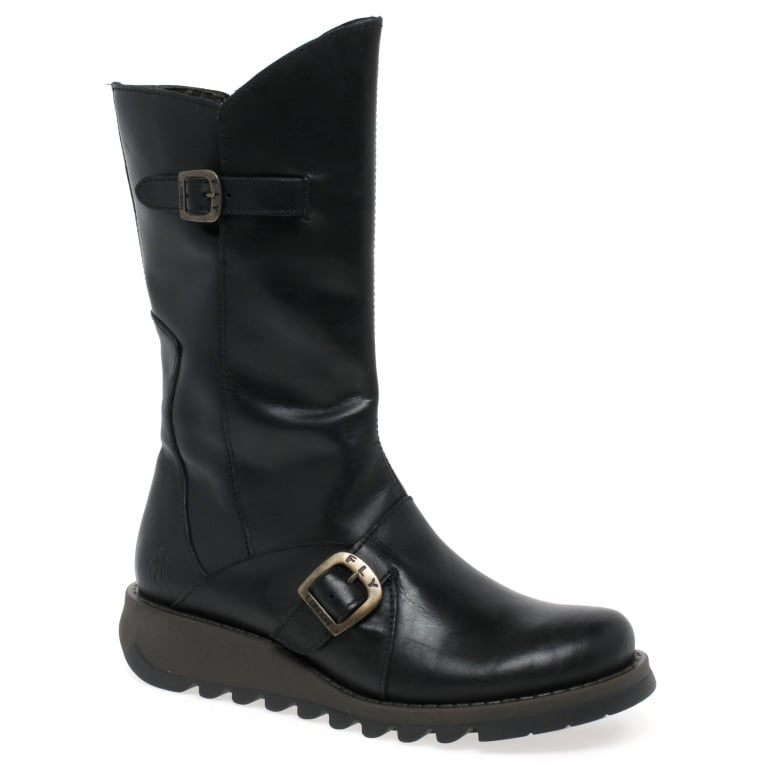 Fly London Mes 2 Womens Leather Calf Wedge Heel Biker Boots