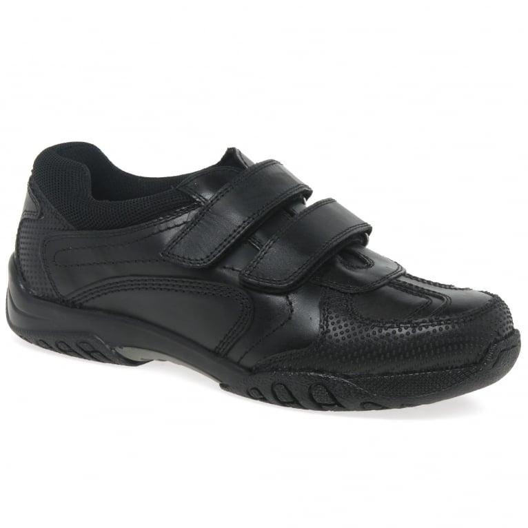 Hush Puppies Jezza Boys Senior Leather Rip Tape Trainer School Shoes