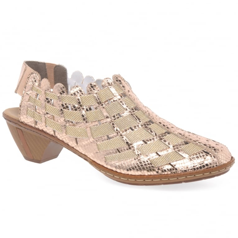 Rieker Sina Leather Woven Heeled Shoes