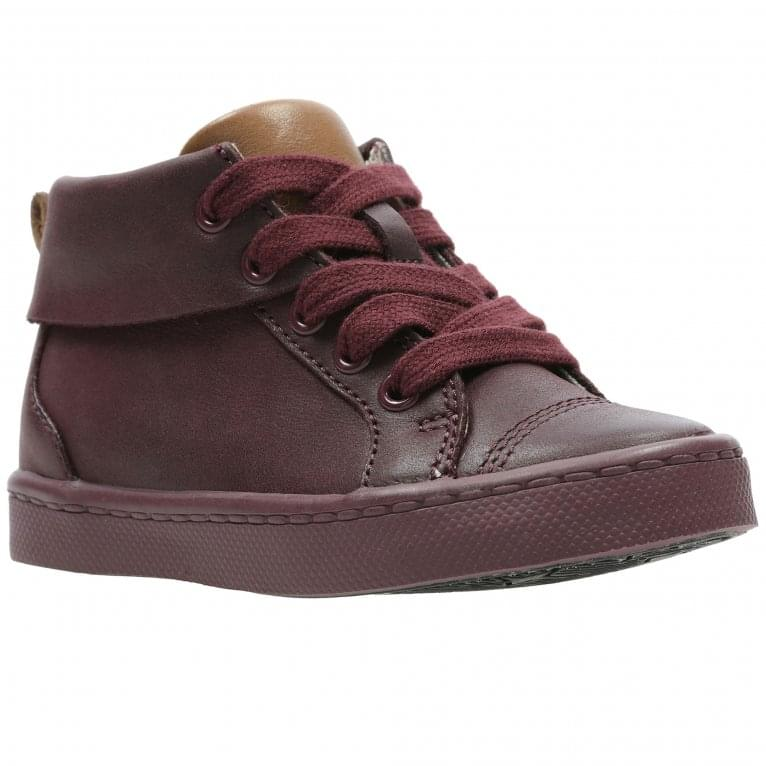 Clarks City Oasis Boys Leather Hi Top Trainer Boots
