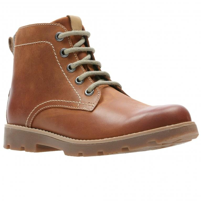 Clarks Comet Rock Boys Junior Leather Ankle Boots