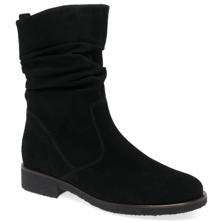 Gabor Greendale Womens Ruched Suede Calf Boots