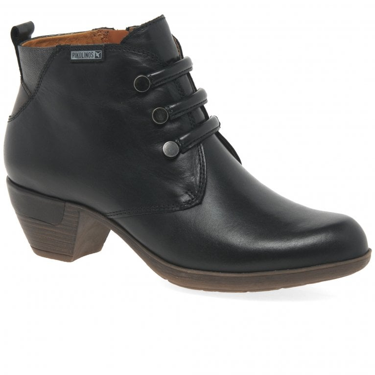 Pikolinos Rotterdam Womens Military Detail Leather Ankle Boots