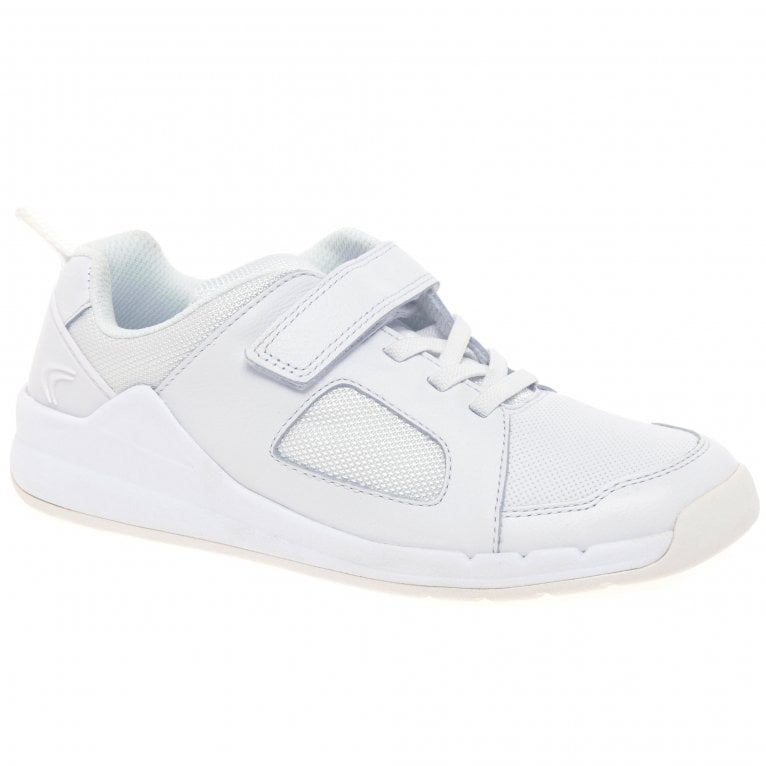 Clarks Orbit Ride Kids Junior White Leather Trainers