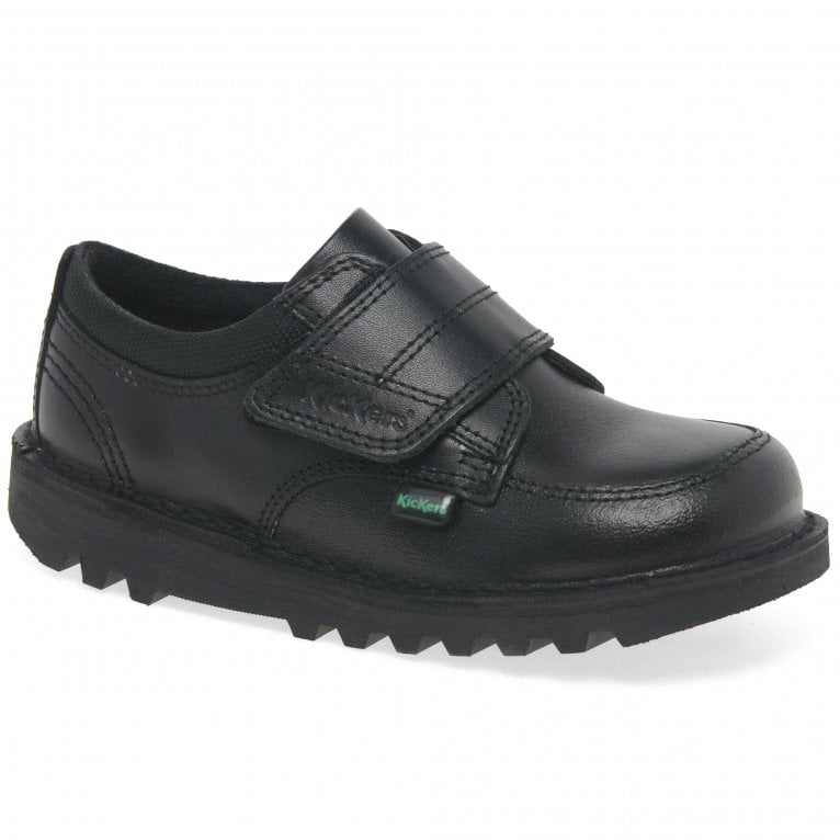 Kickers Kick Scuff Lo Boys Infant Leather Rip Tape School Shoes