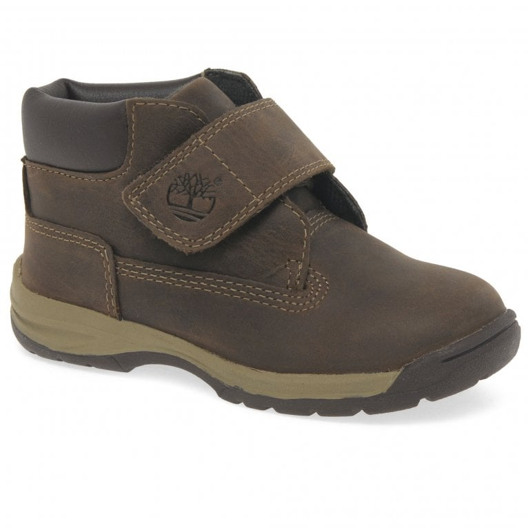 Timberland Timber Tykes T Boys Brown Nubuck Rip Tape Ankle Boots