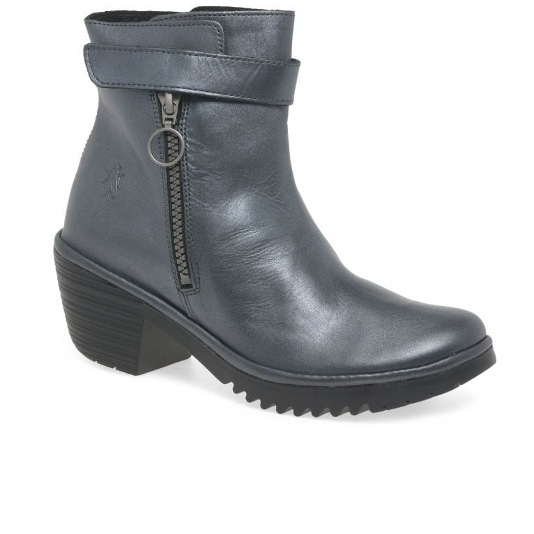 Fly London Went Womens Leather Ring Pull Ankle Boots