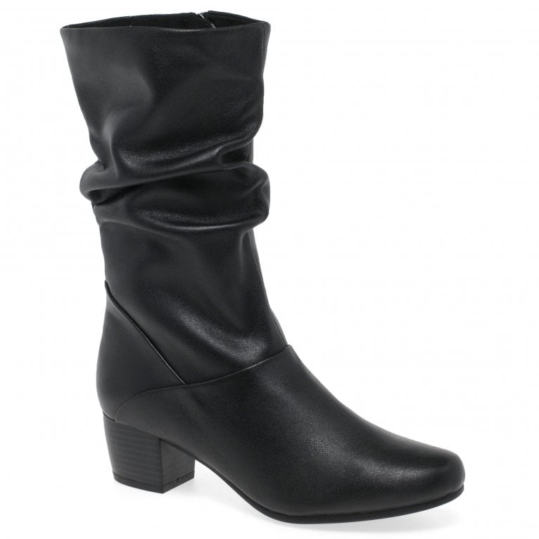 Caprice Ripley Womens Ruched Leather Calf Length Boots