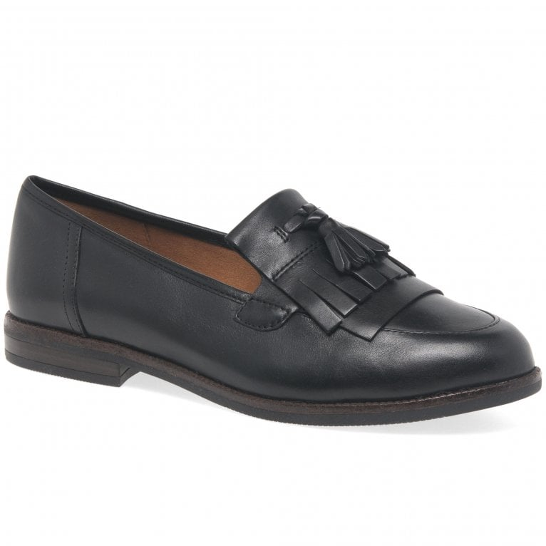 Caprice Cait Womens Leather Fringe Tassel Loafer Flats