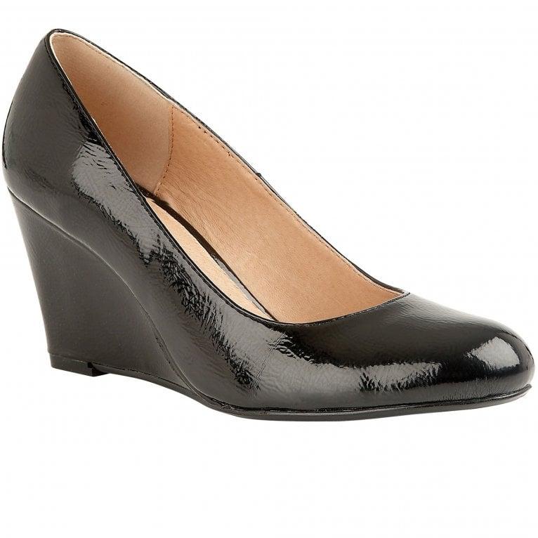Lotus Cache Womens Patent Wedge Court Shoe