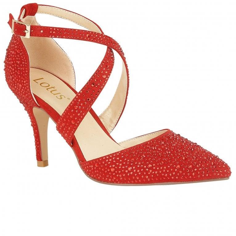 Lotus Star Womens Diamante Strappy Court Shoe
