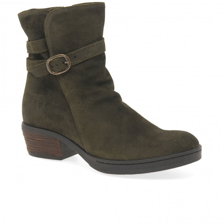 Fly London Cimp Womens Suede Buckle Biker Ankle Boots