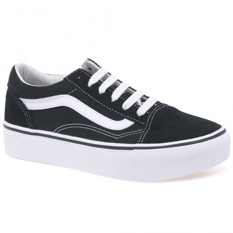 Vans Old Skool Platform Girls Suede Lace Up Trainer Shoes