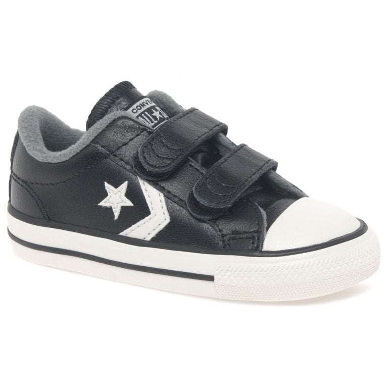 Converse Star Player Infant 2V Boys Black Leather Trainer Shoes