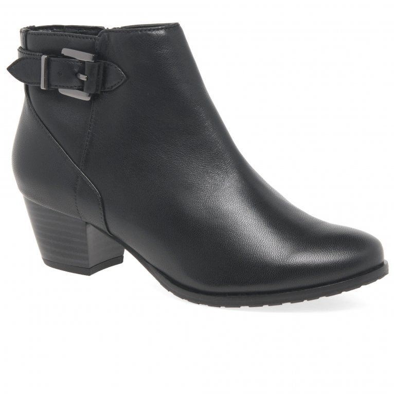 Van Dal Porter Womens Black Leather Buckle Ankle Boots