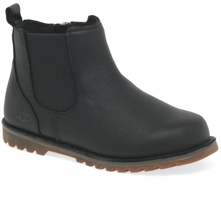 UGG Callum Boys Toddler Black Brushed Water Resistant Suede Boots