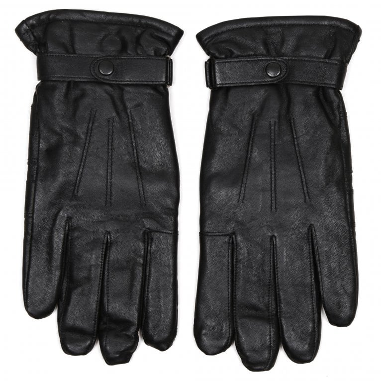 Barbour Burnished Classic Black Leather Thinsulate Gloves
