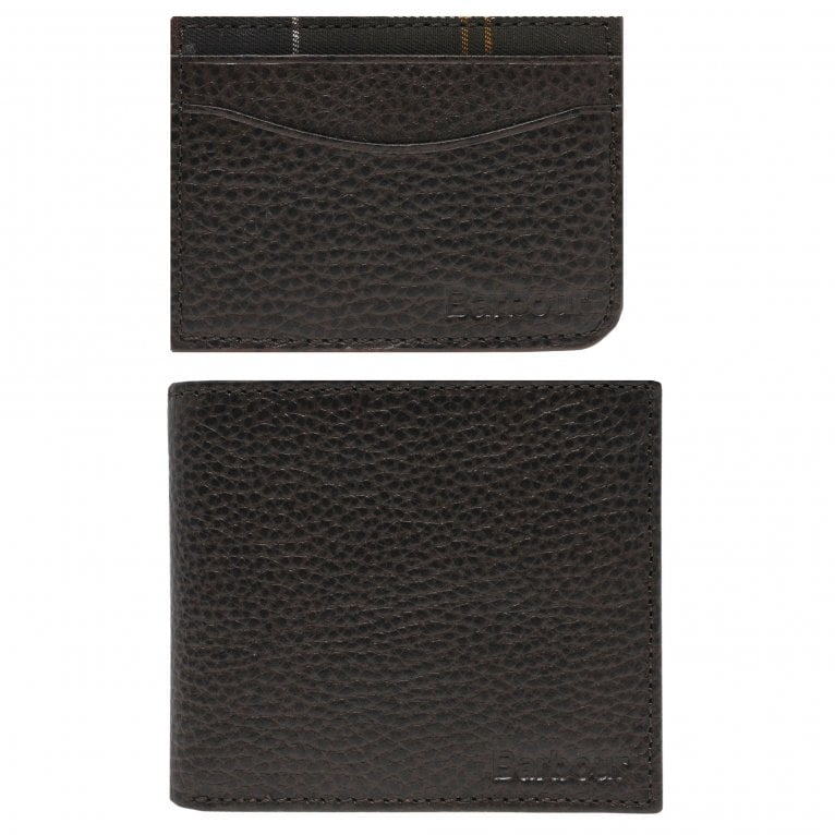 Barbour Brown Leather Wallet and Card Holder Gift Set