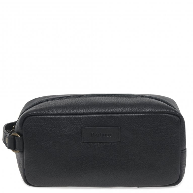 Barbour Black Leather Handle Zip Fastening Wash Bag