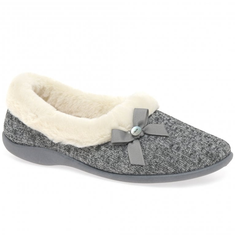 Dunlop Louisa Womens Cosy Knit Bow Full Slippers
