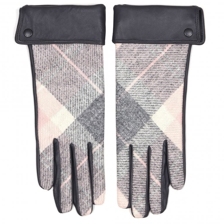 Barbour Stowe Womens Grey Leather Tartan Adjustable Length Gloves