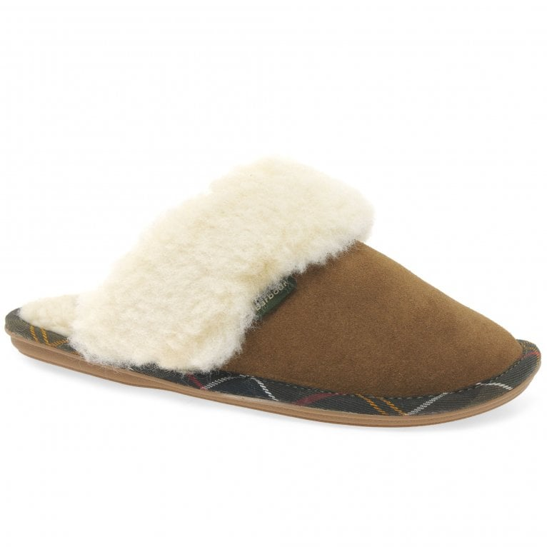 Barbour Lydia Mule Womens Warm Lined Plush Trim Slippers