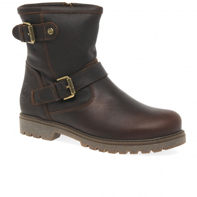 Panama Jack Felina Igloo Womens Waterproof Leather Sheepskin Biker Ankle Boots
