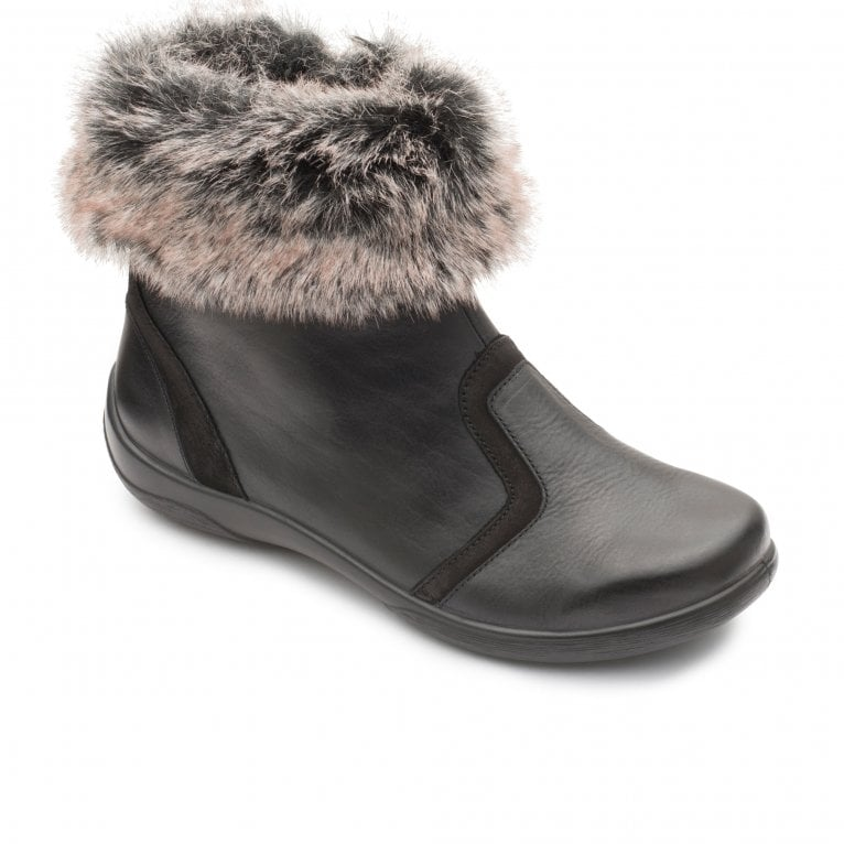 Padders Clarinet Womens Leather Faux Fur Zip Ankle Boots