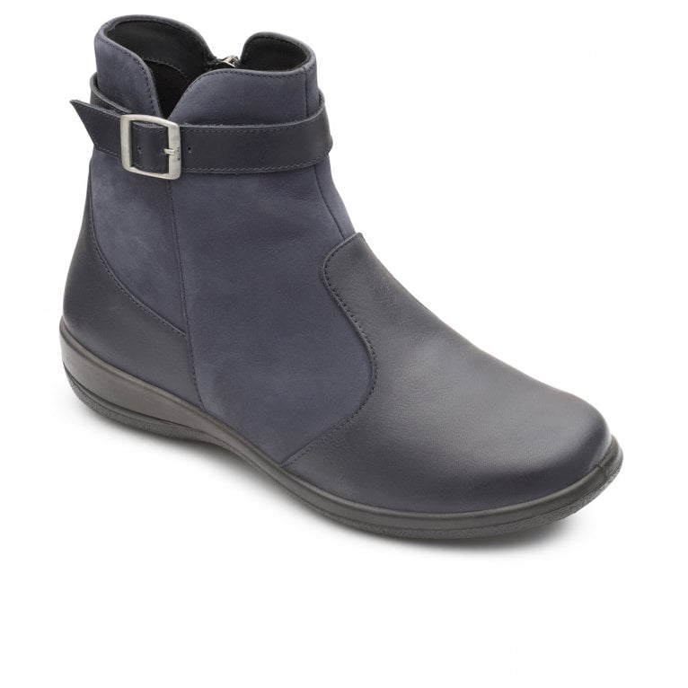 Padders Mary Womens Leather Buckle Zip Dualfit Ankle Boots