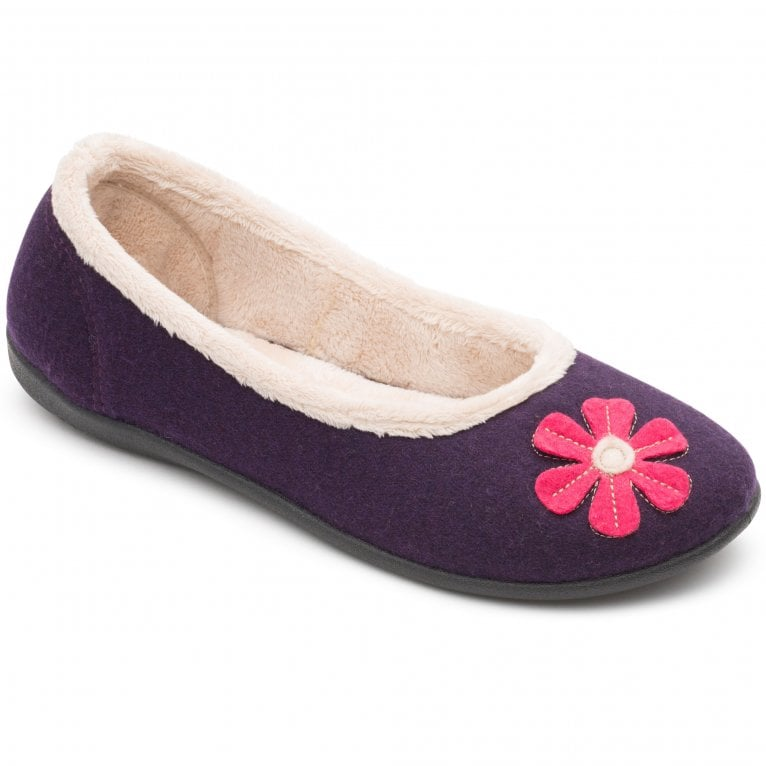 Padders Happy Womens Ballerina Applique Daisy Full Slippers