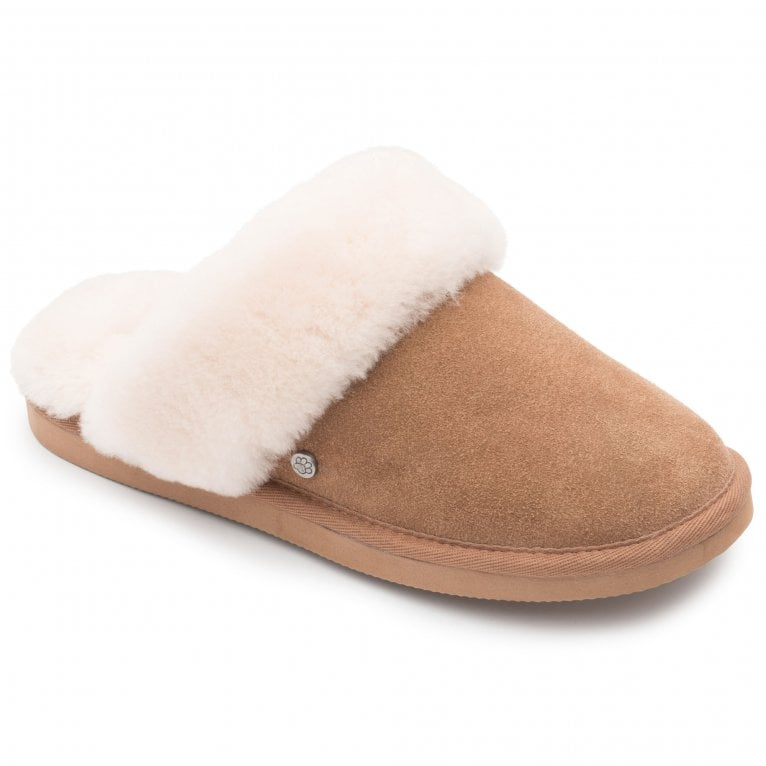 Padders Cosy Womens Suede Sheepskin Lined Mule Slippers