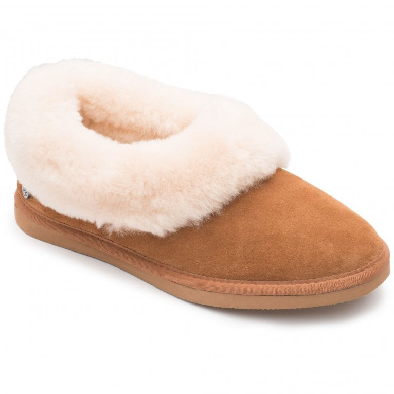 Padders Cuddle Womens Suede Sheepskin Lined Cuff Full Slippers
