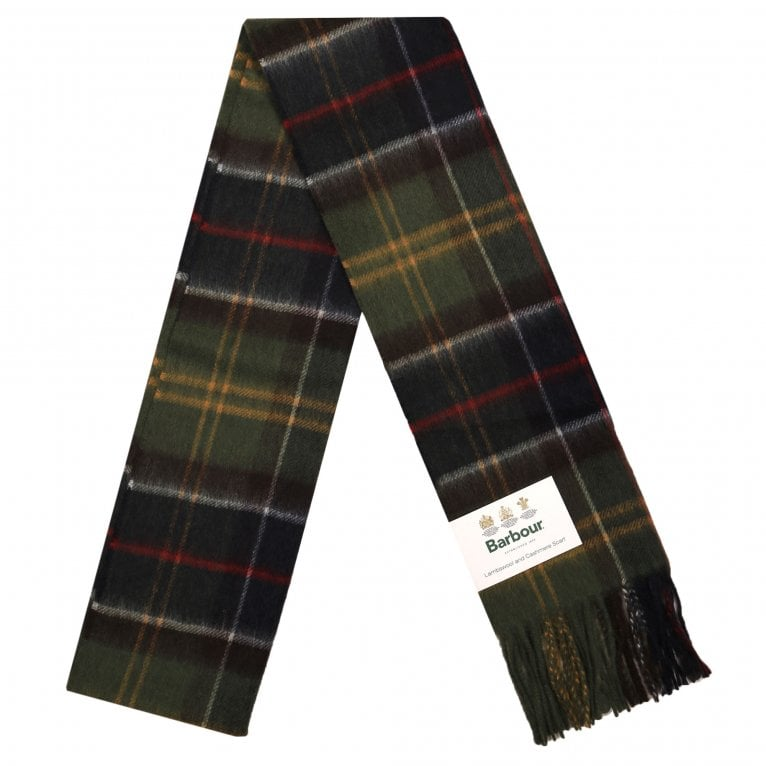 Barbour Merino Lambswool and Cashmere Fringe Scarf