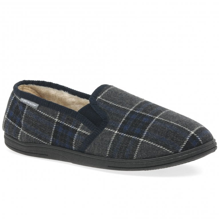 Dunlop Sammy Mens Classic Check Warm Lined Full Slippers