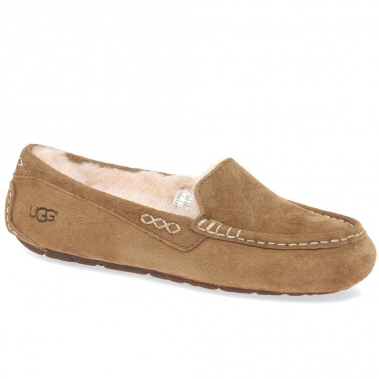 UGG Ansley Ladies Chestnut Suede Wool Lined Slippers
