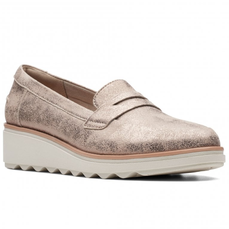 Clarks Sharon Ranch Womens Wedge Heel Penny Loafers