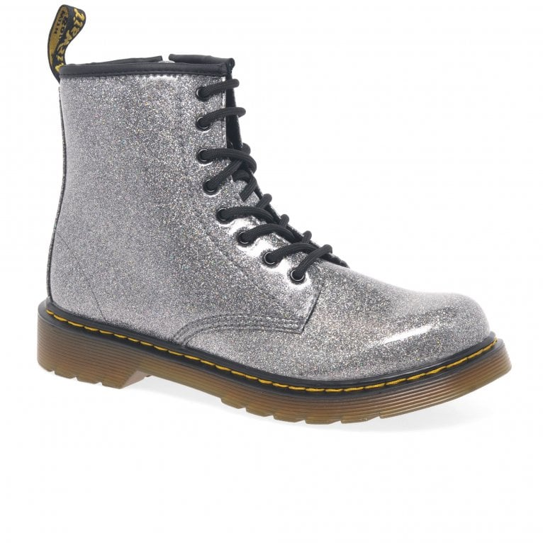 Dr. Martens Glitter 1460 Girls Senior Gunmetal Zip Ankle Boots