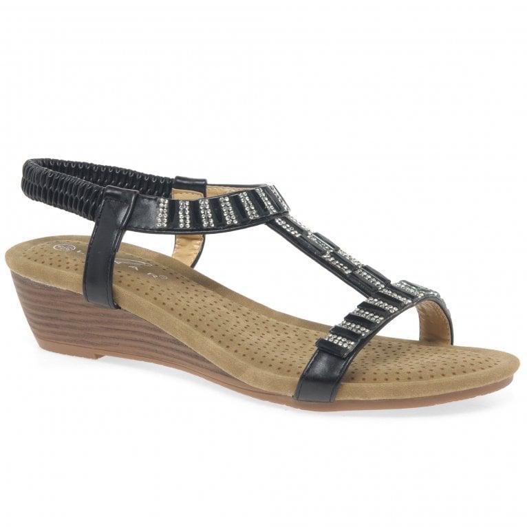 Lunar Reynolds Womens Wedge Heel T-Bar Sandals