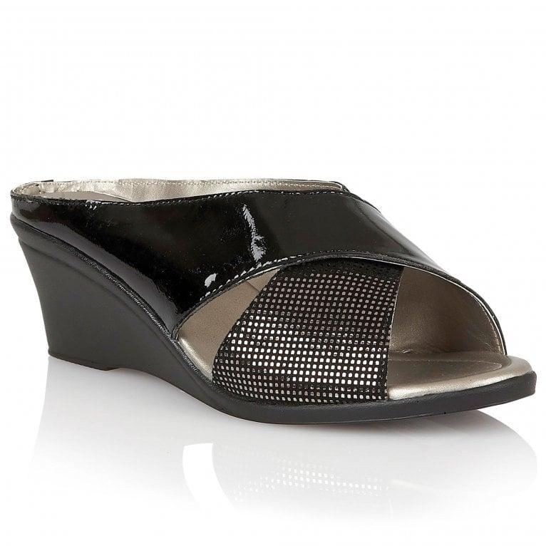 Lotus Trino Womens Wedge Heel Mule Sandals