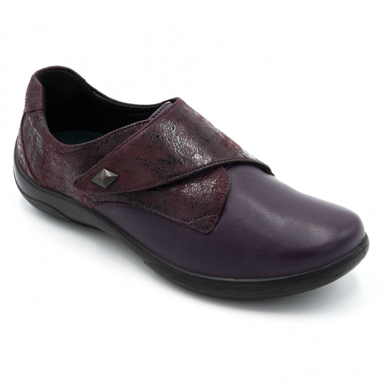 Padders Viola Womens Leather Textured Panel Rip Tape Shoes
