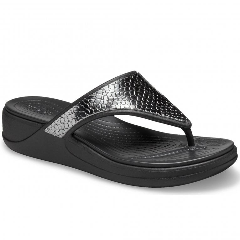 Crocs Monterey Metallic Wedge Womens Toe Post Sandals