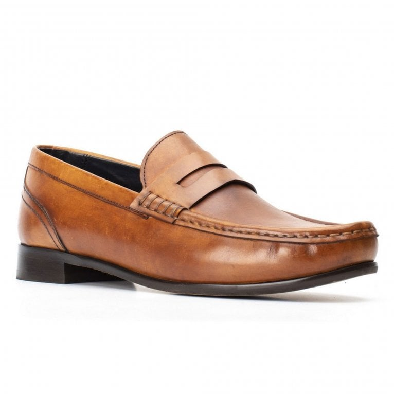 Base London Cassio Washed Mens Penny Loafers