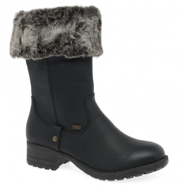 Rieker Newam Womens Water Resistant Nubuck Leather Faux Fur Trim Boots